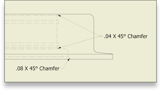 2D to 3D CADD Conversion featuring Automatically generated chamfer notes.