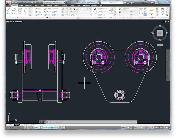 This image shows a AutoCAD 2D drawing in model space before the 2D to 3D CADD Conversion