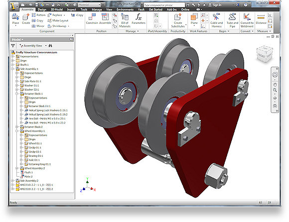 The 2D Autocad Drawing converted into a feature-rich Autodesk Inventor Model.