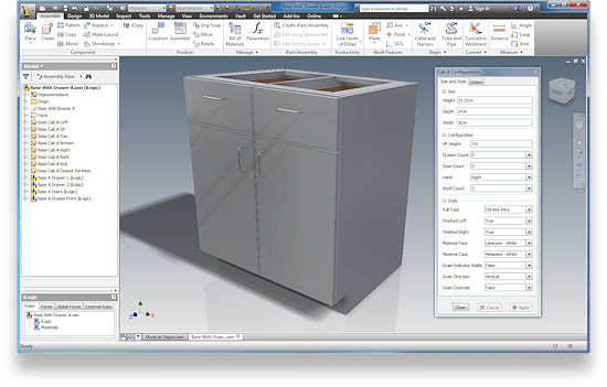 This is the main base cabinet Configurator included in the Cabinetmakers Configurator Package on the Cabinet Web Portal