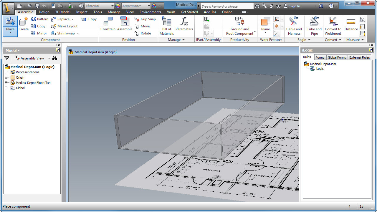 Placing and configuring the rooms applied design for Room configurator