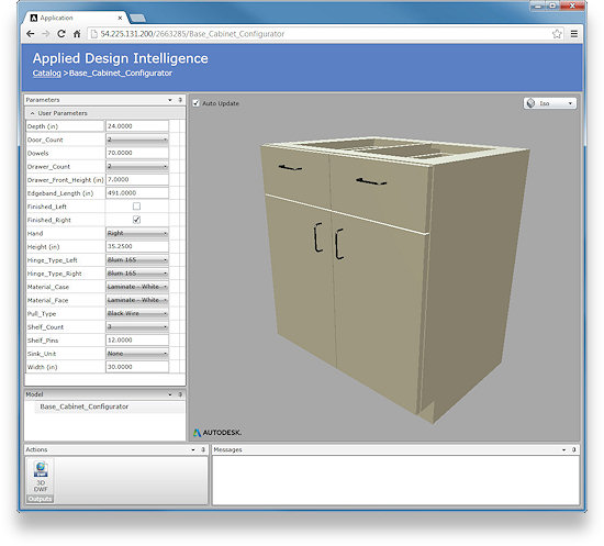 This is an online configurator created with Autodesk Inventor